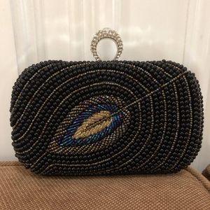 Handbags - NWT! Black Pearl Leaf Evening Purse